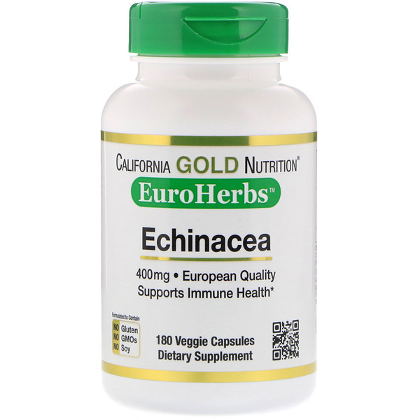 California Gold Nutrition, Эхинацея, EuroHerbs, цельный порошок, 400мг, 180 растительных капсул (Discontinued Item)