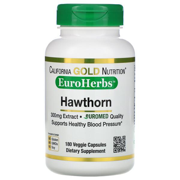 California Gold Nutrition, EuroHerbs, экстракт боярышника, европейское качество, 300мг, 180растительных капсул