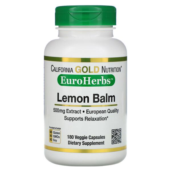 California Gold Nutrition, экстракт мелиссы, европейское качество, 500мг, 180растительных капсул