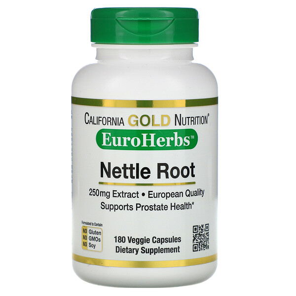 California Gold Nutrition, Экстракт корня крапивы, EuroHerbs, 250мг, 180 растительных капсул (Discontinued Item)