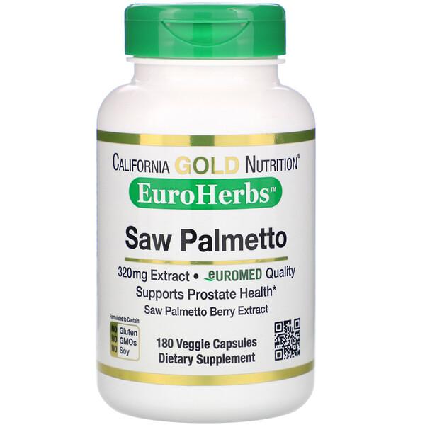 California Gold Nutrition, Экстракт пальмы сереноа, EuroHerbs, европейское качество, 320мг, 180 растительных капсул (Discontinued Item)