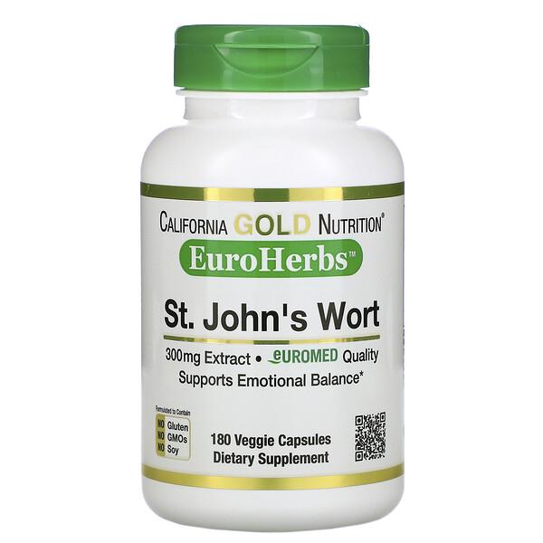California Gold Nutrition, EuroHerbs, экстракт зверобоя, европейское качество, 300мг, 180растительных капсул