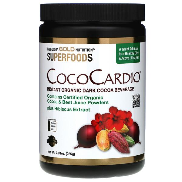 California Gold Nutrition, CocoCardio, сертифицированный напиток из органического растворимого темного какао с соком свеклы и гибискусом, 225г (7,93унции)