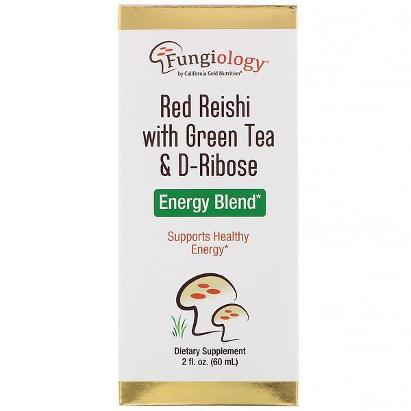 Fungiology, трутовик лакированный с зеленым чаем и рибозой, энергетическая смесь, 2жидких унции (60мл)