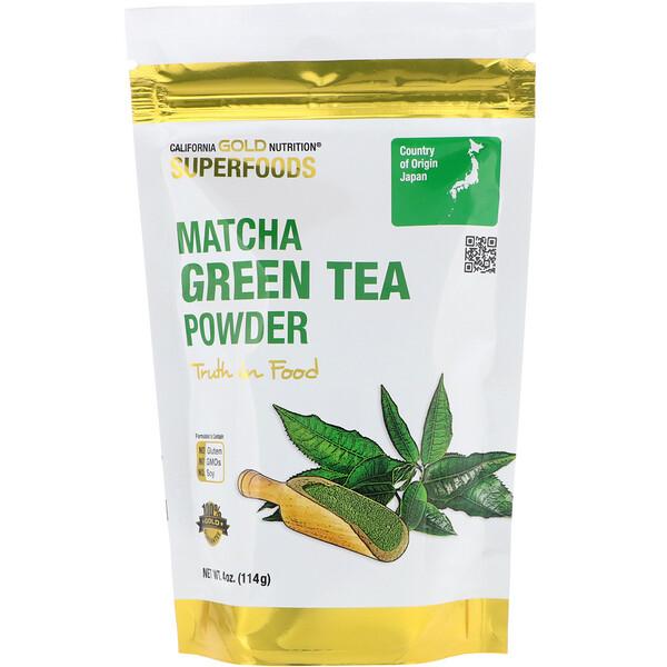 California Gold Nutrition, Superfoods, порошок зеленого чая матча, 4унции (114г)