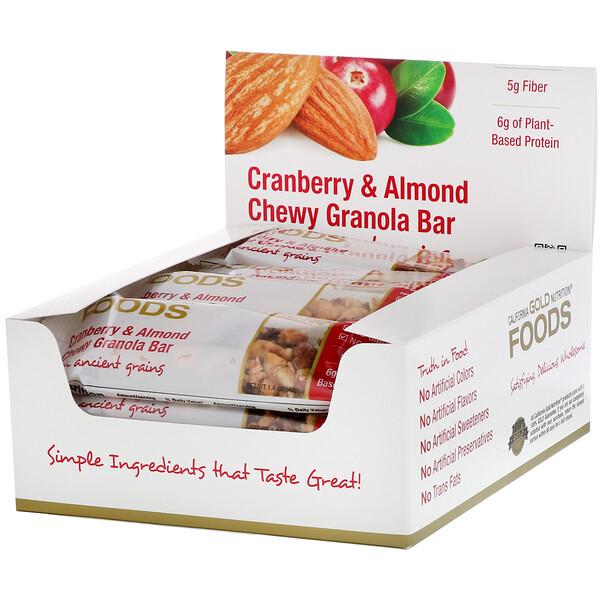 Foods, жевательные батончики-мюсли с клюквой и миндалем, 12батончиков весом 1,4унции (40г) каждый