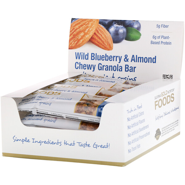 Foods, жевательные батончики-мюсли с дикой голубикой и миндалем, 12батончиков весом 1,4унции (40г) каждый
