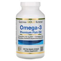California Gold Nutrition, Омега-3, рыбий жир премиум-класса, 240мягких капсул с рыбным желатином