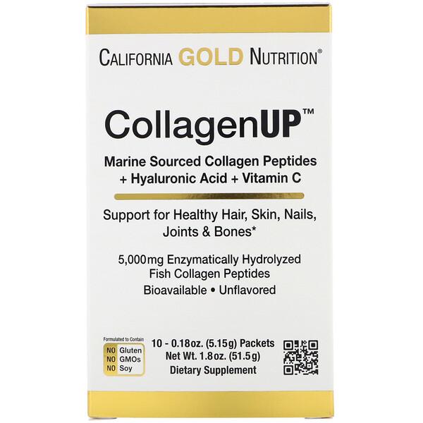 CollagenUP, морской гидролизованный коллаген с гиалуроновой кислотой и витамином С, без запаха, 10 пакетов, 5,15 г (0,18 унции) каждый