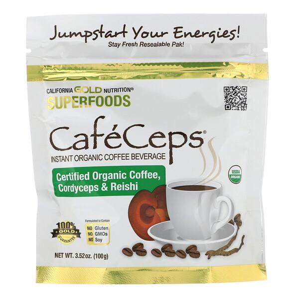 California Gold Nutrition, CafeCeps, сертифицированный органический растворимый кофе с порошком из грибов кордицепс и рейши, 100г (3,52унции)