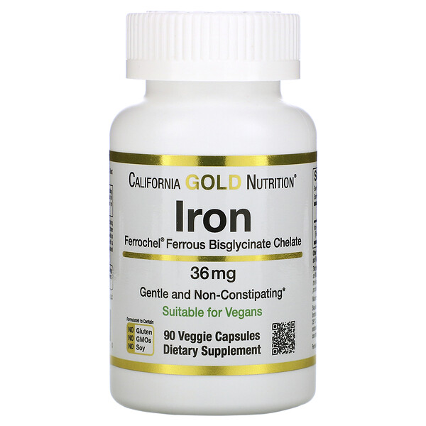 California Gold Nutrition, Ferrochel, железо (бисглицинат), 36мг, 90растительных капсул