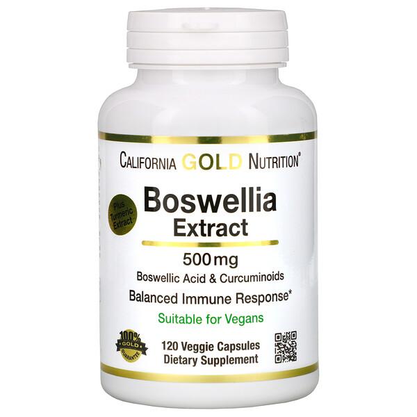 California Gold Nutrition, Экстракт босвеллии, с экстрактом куркумы, 500мг, 120растительных капсул