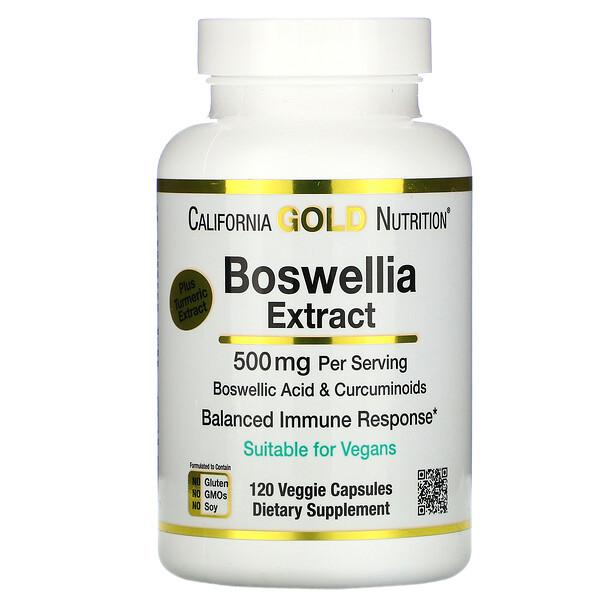 Экстракт босвеллии, с экстрактом куркумы, 500мг, 120растительных капсул