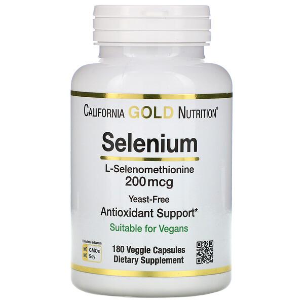 California Gold Nutrition, Селен, бездрожжевой, 200мкг, 180растительных капсул