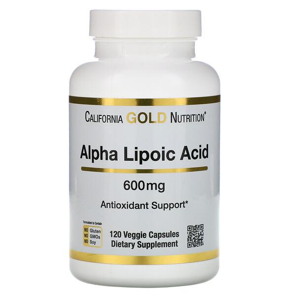 California Gold Nutrition, Альфа-липоевая кислота, 600мг, 120 растительных капсул