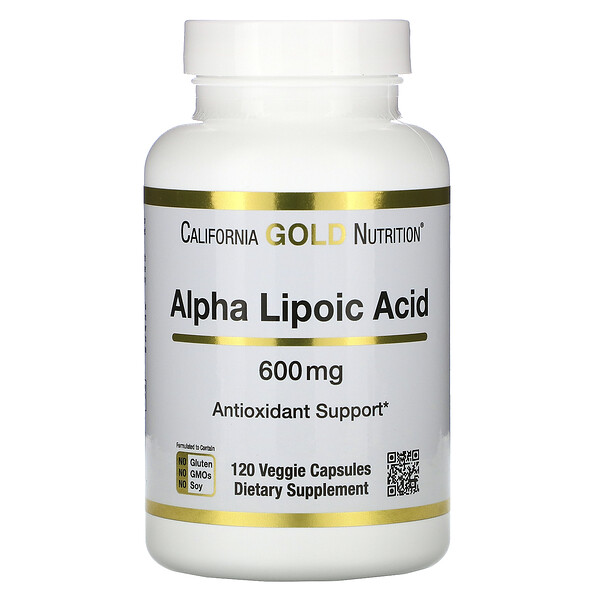 California Gold Nutrition, Альфа-липоевая кислота, 600мг, 120растительных капсул