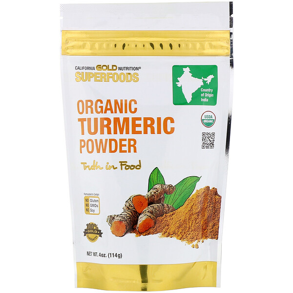 California Gold Nutrition, Superfoods, органический порошок куркумы, 4унции (114 г)