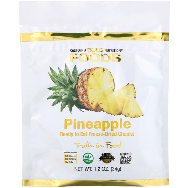 California Gold Nutrition, Сублимированный ананас, готовые к употреблению ломтики целых сублимированных плодов, 34г (1унция)