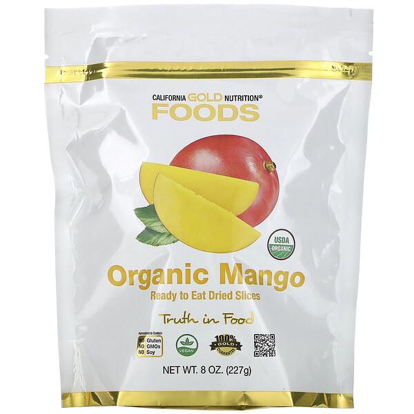 California Gold Nutrition, Органическое манго, готовые к употреблению сушеные ломтики, 8унций (227г)