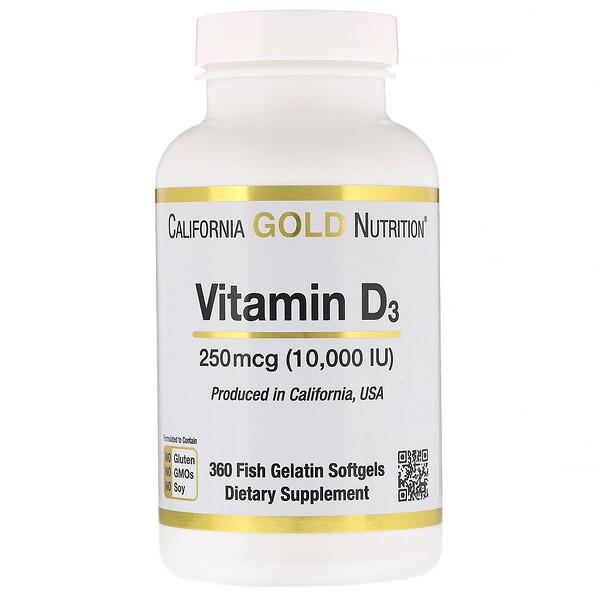 California Gold Nutrition, ВитаминD3, 250мкг (10000МЕ), 360рыбно-желатиновых капсул (Discontinued Item)