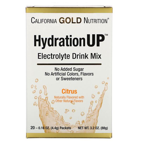 HydrationUP, смесь для приготовления электролитического напитка, цитрусы, 20пакетиков, 4,4г (0,16унции) в каждом