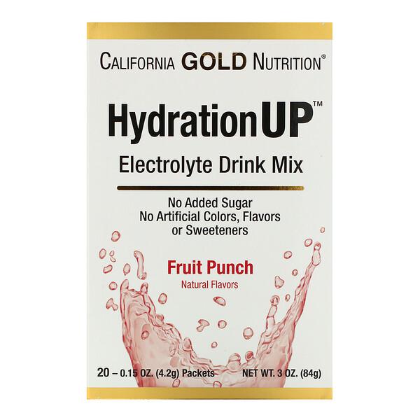 California Gold Nutrition, HydrationUP, смесь для приготовления электролитического напитка, фруктовый пунш, 20пакетиков, 4,2г (0,15унции) в каждом