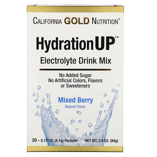 HydrationUP, смесь для напитка с электролитами, смесь ягод, 20 пакетов весом 0,17унции (4,7г) каждый