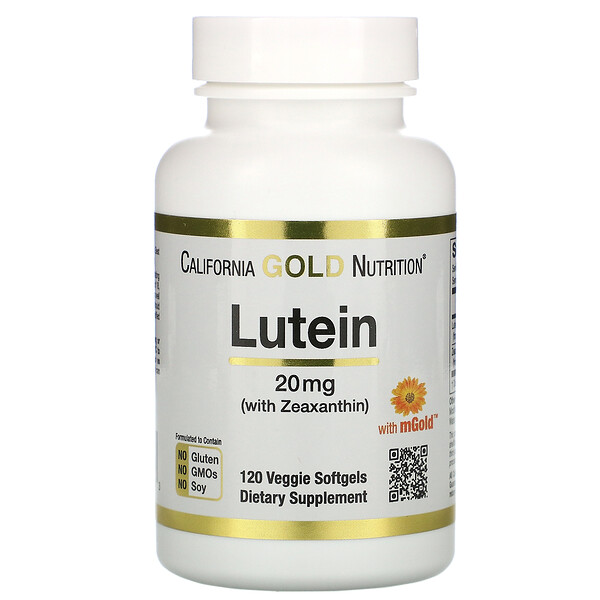 California Gold Nutrition, Лютеин с зеаксантином, 20мг, 120растительных мягких таблеток