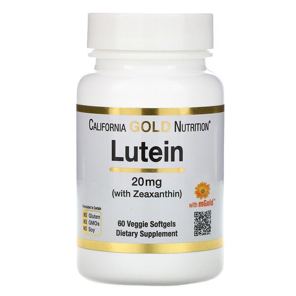 Лютеин с зеаксантином, 20мг, 60растительных мягких таблеток