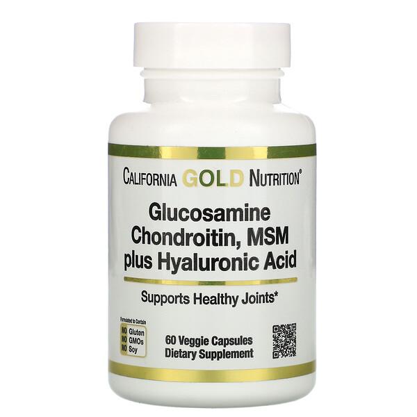 California Gold Nutrition, Глюкозамин, хондроитин, МСМ с гиалуроновой кислотой, 60растительных капсул