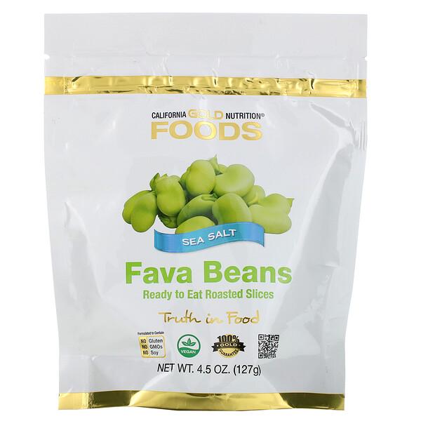 California Gold Nutrition, Foods, стручковая фасоль, готовые к употреблению кусочки обжаренных бобов, морская соль, 127г (4,5жидк. унции) (Discontinued Item)
