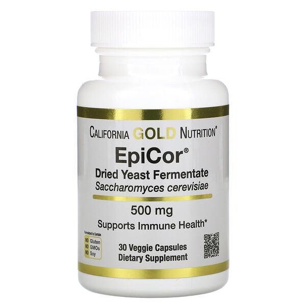 California Gold Nutrition, EpiCor, высушенный дрожжевой ферментат, 500мг, 30 растительных капсул