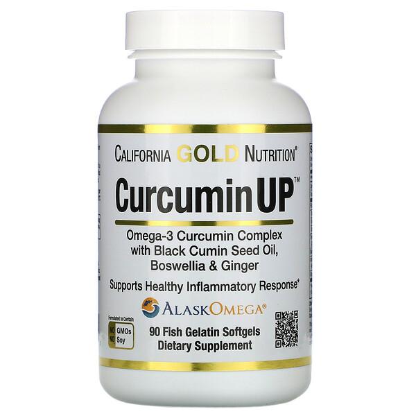 CurcuminUP, комплекс куркумина и омега-3, помощь при воспалениях, 90рыбно-желатиновых капсул