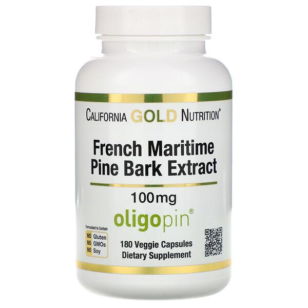 Экстракт из коры французской приморской сосны, Oligopin, антиоксидантные полифенолы, 100 мг, 180 вегетарианских капсул