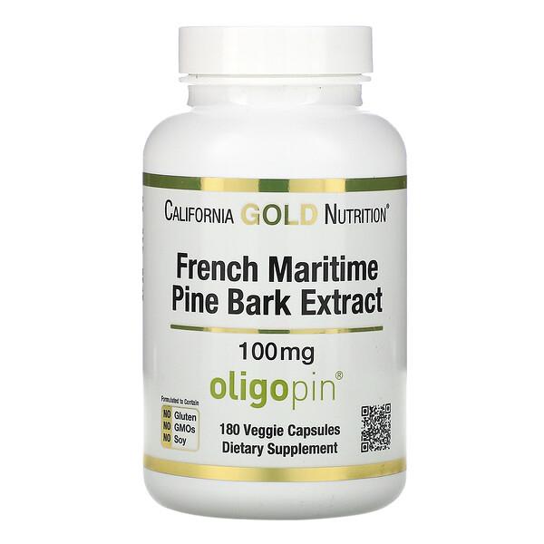 California Gold Nutrition, Oligopin, экстракт коры французской приморской сосны, полифенольный антиоксидант, 100мг, 180растительных капсул