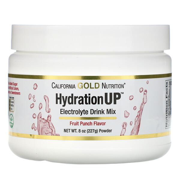 HydrationUP, порошок для приготовления электролитического напитка, фруктовый пунш, 227г (8унций)