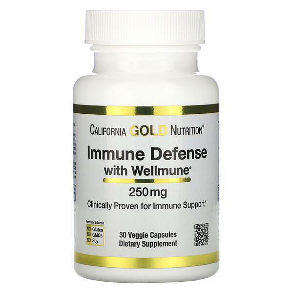 California Gold Nutrition, Immune Defense with Wellmune, бета-глюкан, 250мг, 30растительных капсул