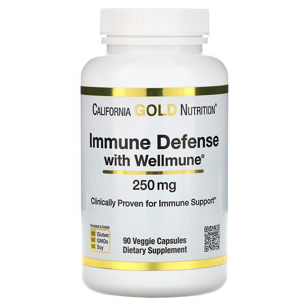 Защита иммунной системы с помощью Wellmune, бета-глюкан, 250 мг, 90 растительных капсул