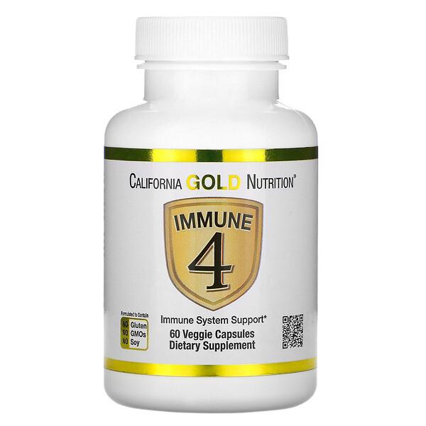 California Gold Nutrition, Immune4, средство для укрепления иммунитета, 60растительных капсул