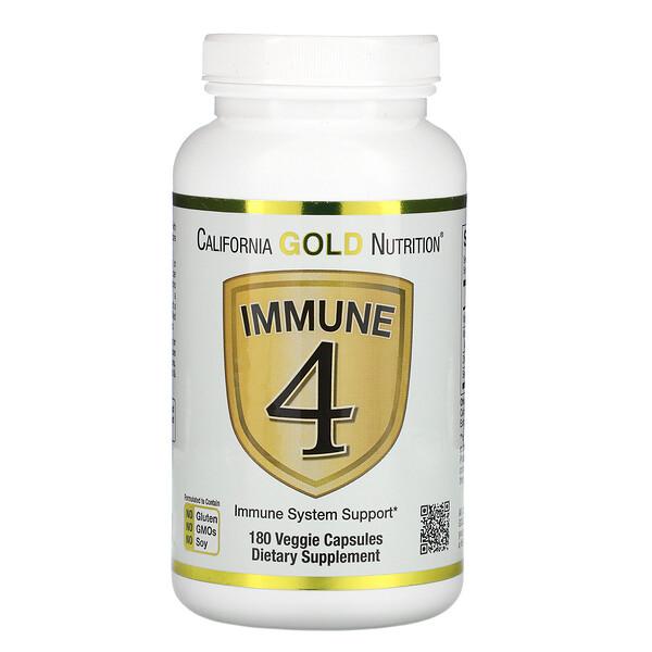 California Gold Nutrition, Immune4, средство для укрепления иммунитета, 180растительных капсул