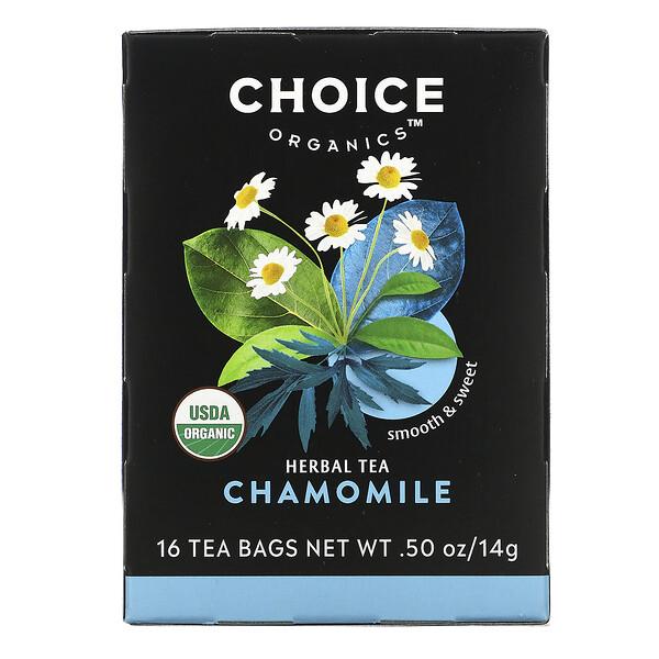 Choice Organic Teas, Herbal Tea, Organic Chamomile, Caffeine-Free, 16 Tea Bags, .50 oz (14 g)