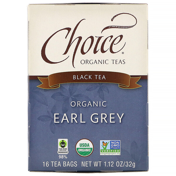 Black Tea, Organic Earl Grey, 16 Tea Bags, 1.12 oz (32 g)