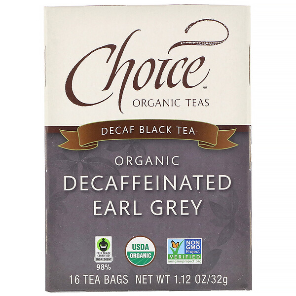 Black Tea, Organic Decaffeinated Earl Grey, Decaf, 16 Tea Bags, 1.12 oz (32 g)