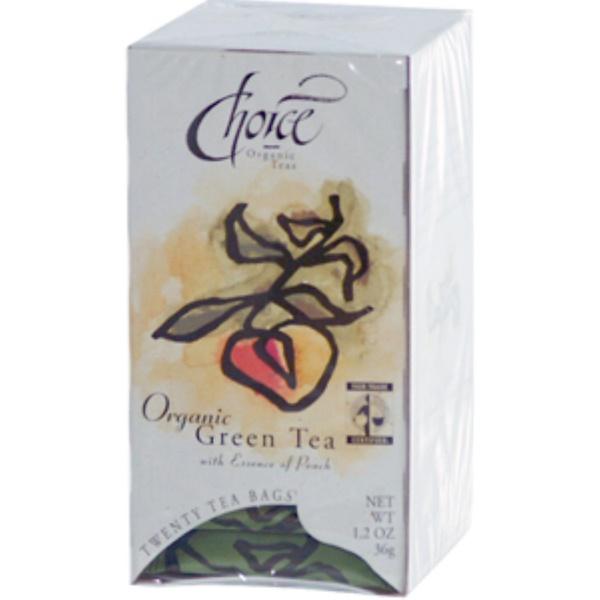 Choice Organic Teas, Зеленый чай с экстрактом персика 20 чайных пакетиков, 1.2 унции (36 г) (Discontinued Item)