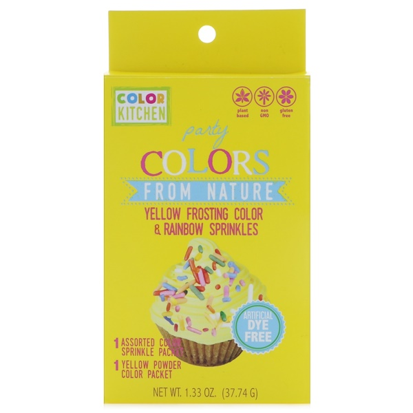 ColorKitchen, Party, Colors From Nature, Yellow Frosting Color & Rainbow Sprinkles, 1.33 oz (37.74 g) (Discontinued Item)