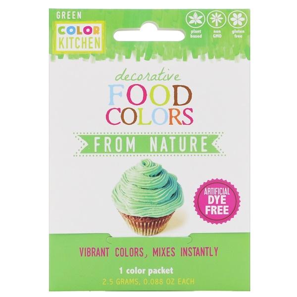 ColorKitchen, Украшение, пищевые красители, взятые у природы, зеленый, 1 пакетик с красителем, 0,088 унц. (2,5 г.) (Discontinued Item)
