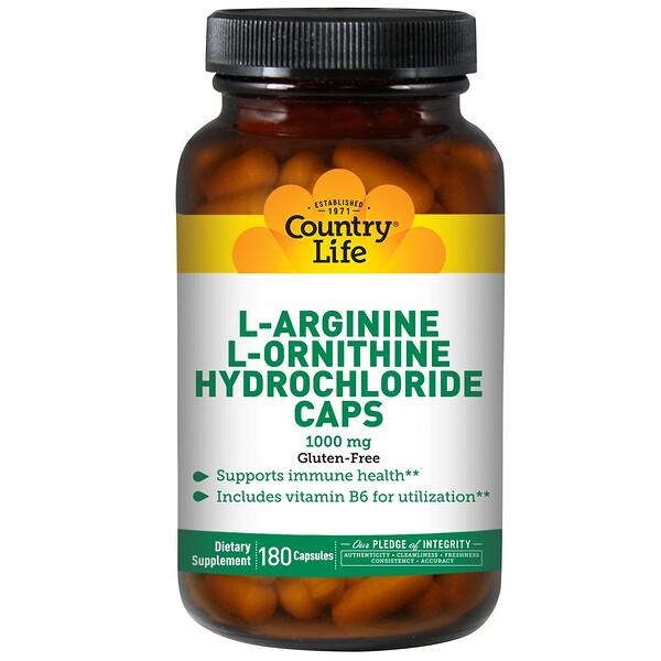 L-аргинин и гидрохлорид L-орнитина, 1000 мг, 180 капсул