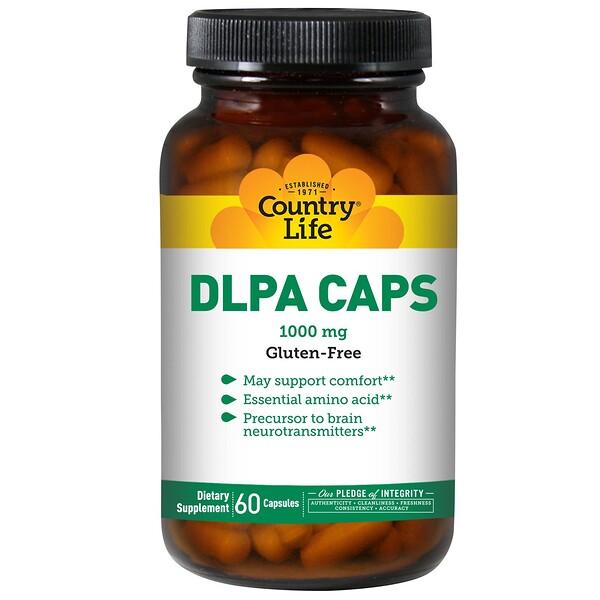 Country Life, DLPA (DL-фенилаланин) в капсулах, 1000 мг, 60 капсул