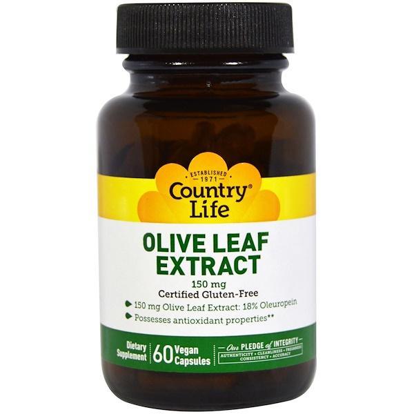 Country Life, Экстракт листьев оливы, 150 мг, 60 вегетарианских капсул (Discontinued Item)