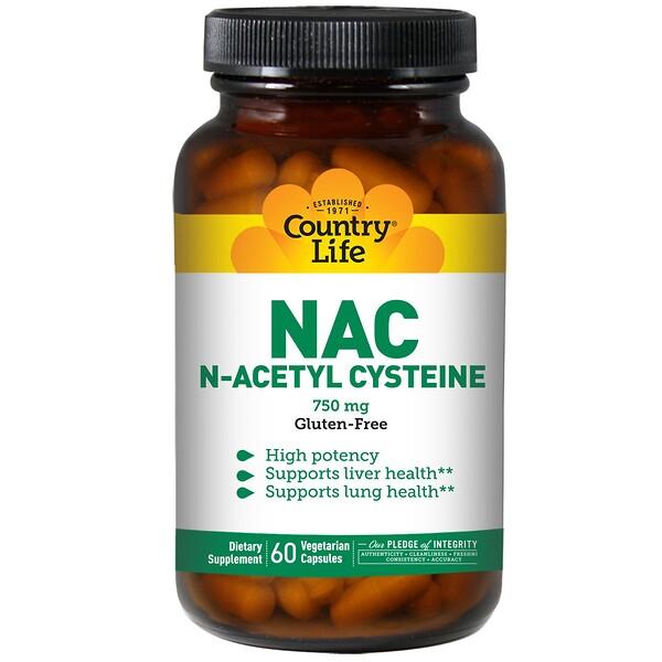 Country Life, NAC, N-ацетилцистеин, 750 мг, 60 растительных капсул